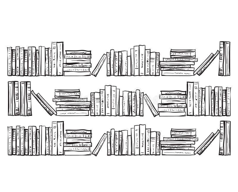 Estante para libros con las porciones de libros stock de ilustración