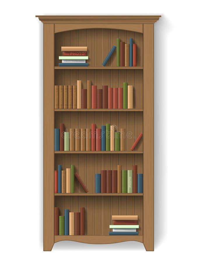 Estante para libros de madera con los libros libre illustration