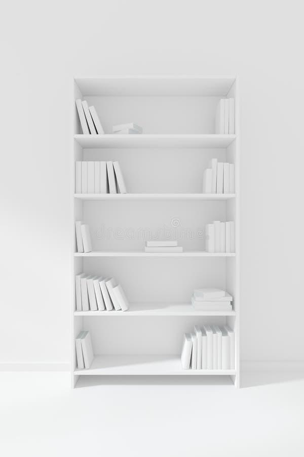 Estante para libros descolorido blanco con muchos libros ilustración del vector