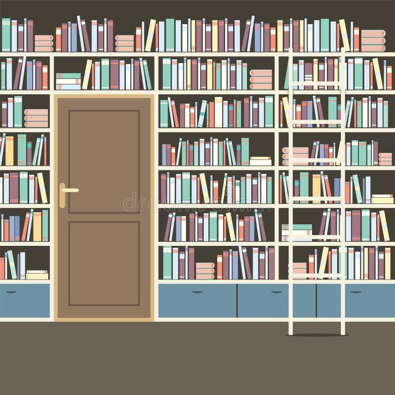 Estante para libros enorme del vintage en biblioteca - Estantes para libros ...