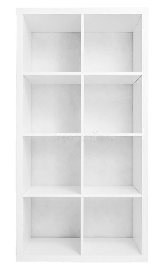 estante para libros vaco de la estantera o de la biblioteca aislado encendido foto de archivo