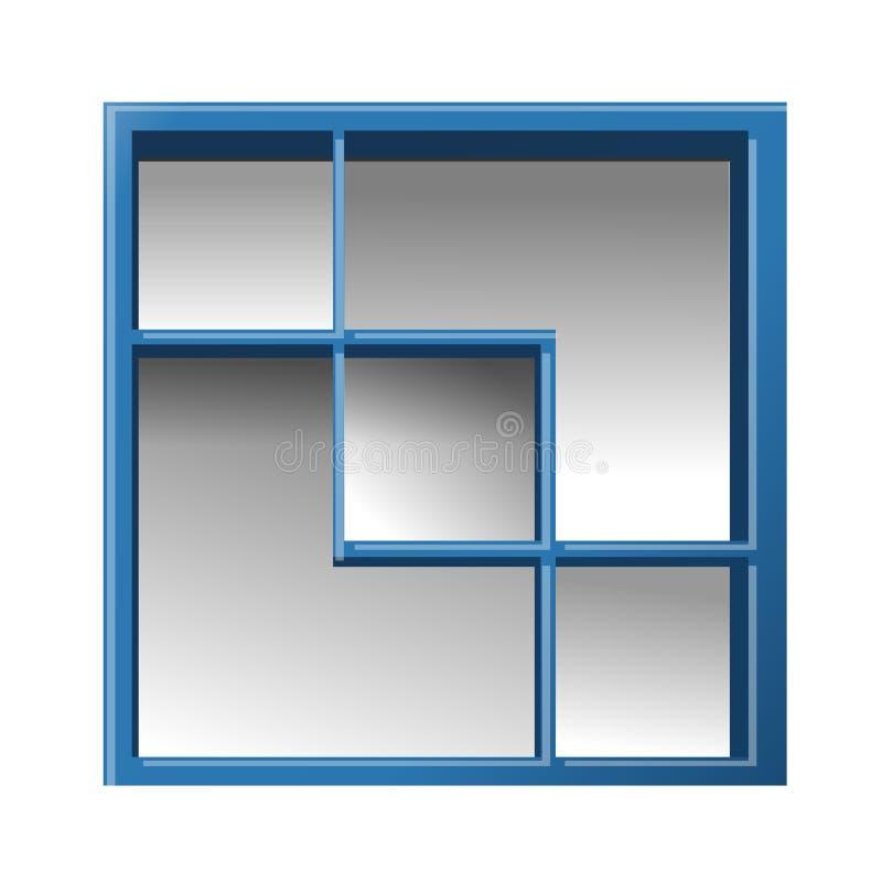 Estante quadrada vazia Prateleira para os livros azuis Vetor ilustração do vetor