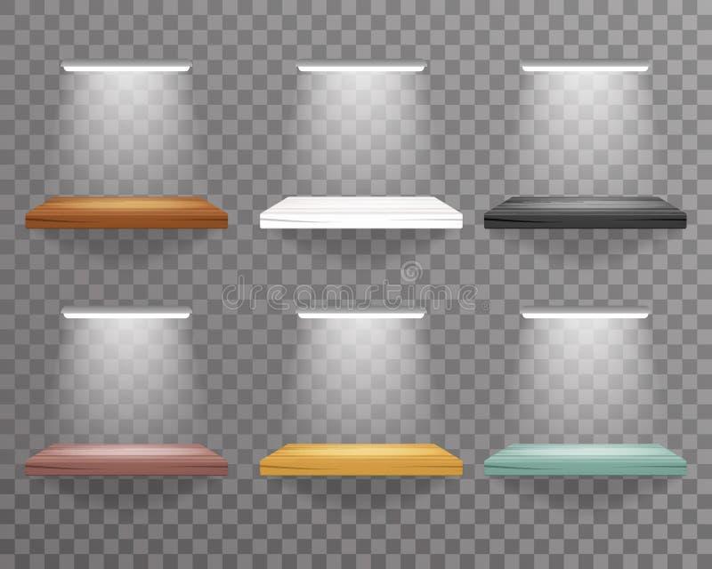 Estante que cuelga en la pared con la iluminación del ejemplo realista transparente del vector del diseño del fondo 3d de la deco stock de ilustración