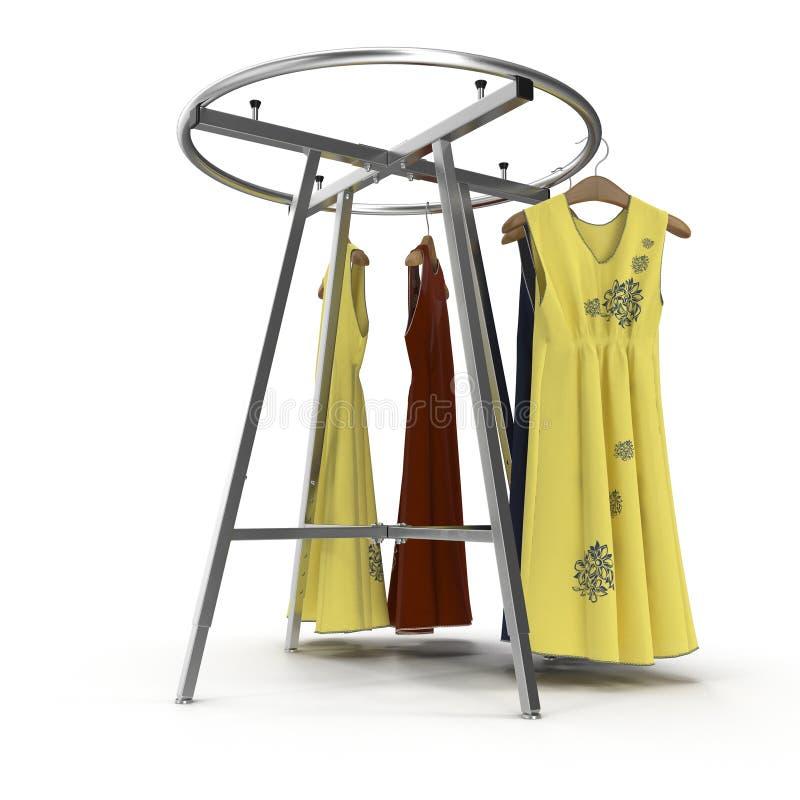 Estante redondo vacío de la ropa con los vestidos en blanco ilustración 3D fotografía de archivo