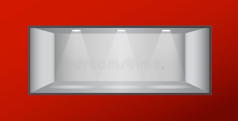 Estante vacío con las luces foto de archivo