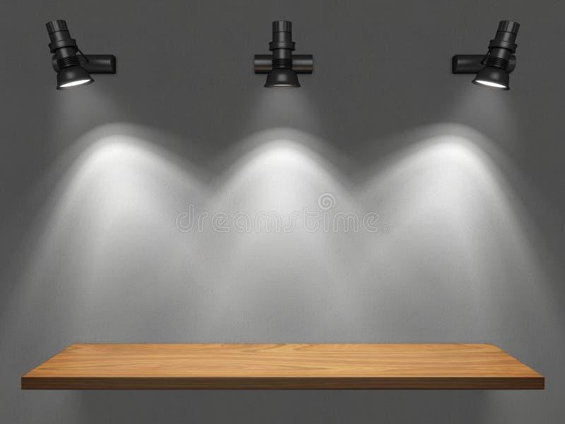 Estante vacío iluminado por los proyectores stock de ilustración