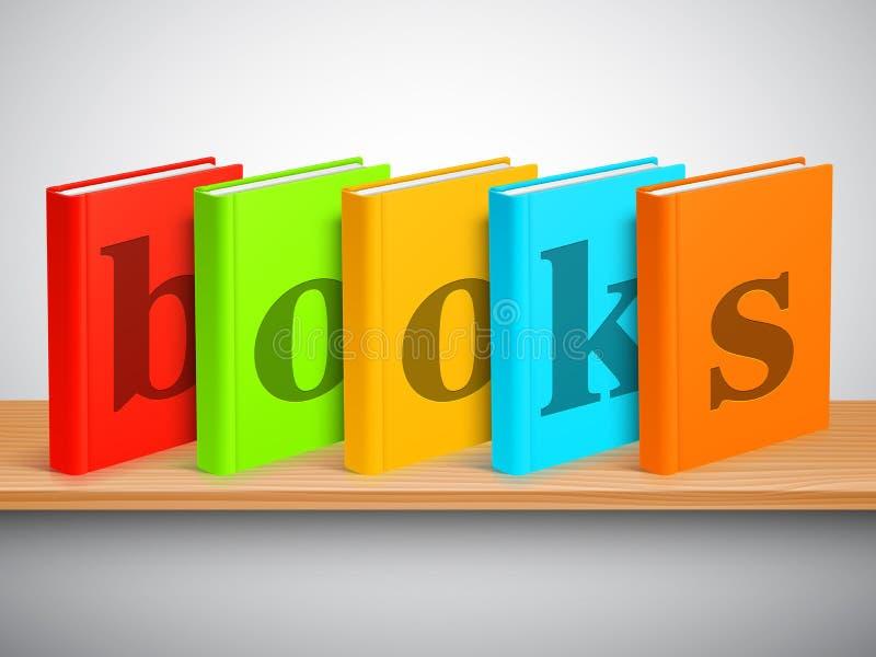 Estante y libros ilustración del vector