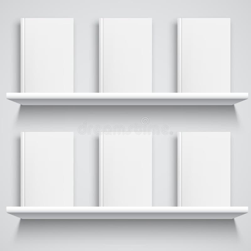 Estante y libros con las cubiertas en blanco ilustración del vector