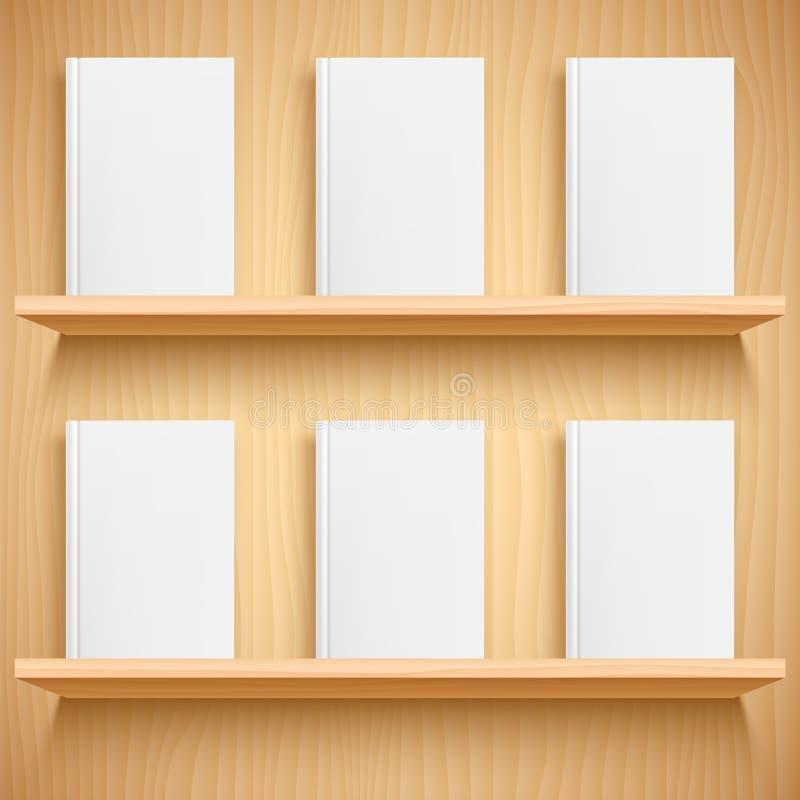 Estante y libros con las cubiertas en blanco stock de ilustración