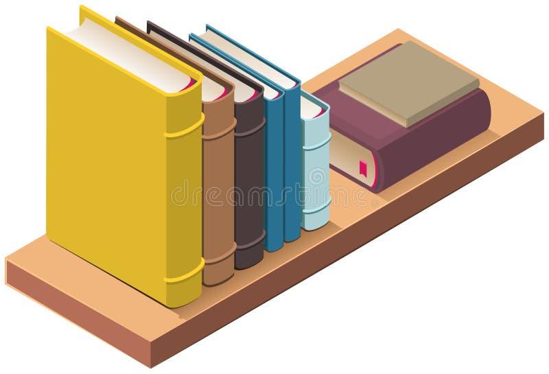 Estante y varios libros de tapa dura ejemplo isom?trico del vector 3d stock de ilustración