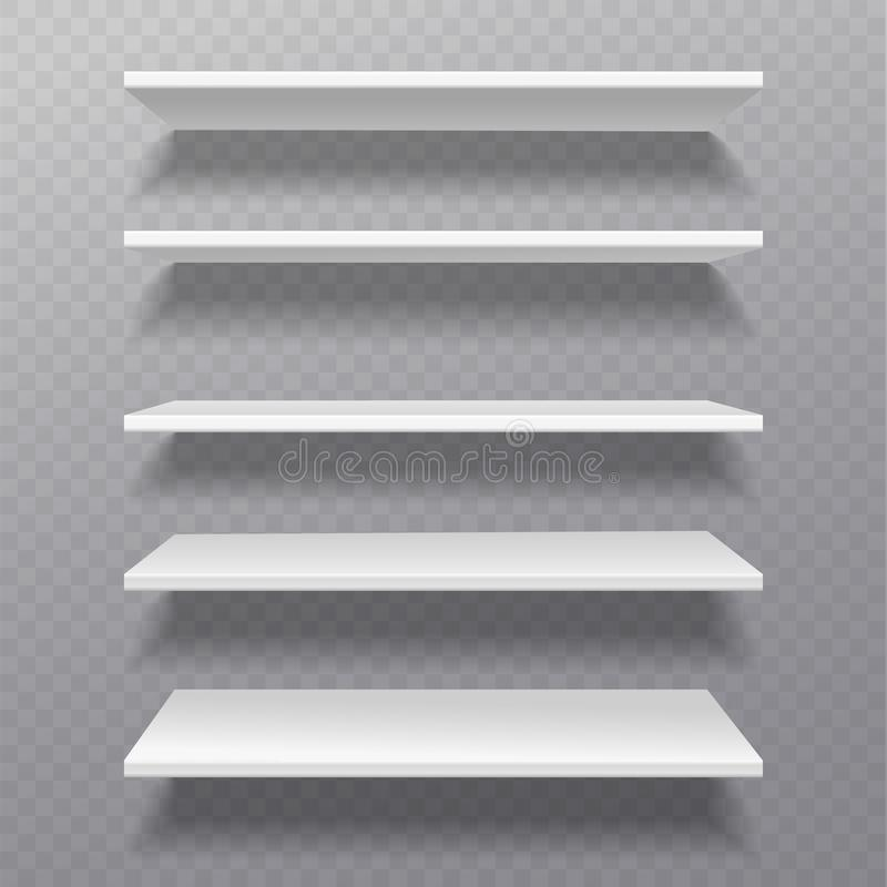 Estantes blancos El espacio en blanco de caja al por menor del estante del bibliotheque del estante deja de lado el estante para  ilustración del vector