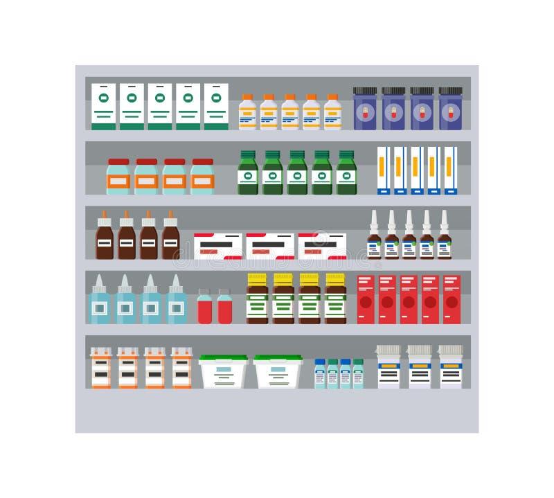 Estantes con diversas medicinas en tarjeta de la farmacia stock de ilustración
