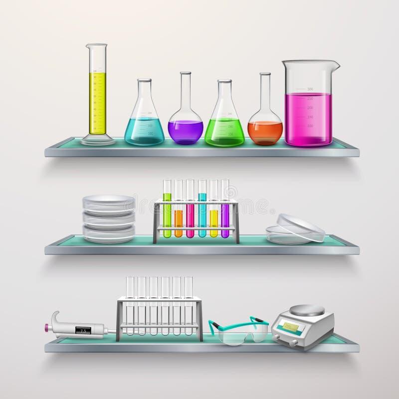 Estantes con la composición del equipo de laboratorio stock de ilustración