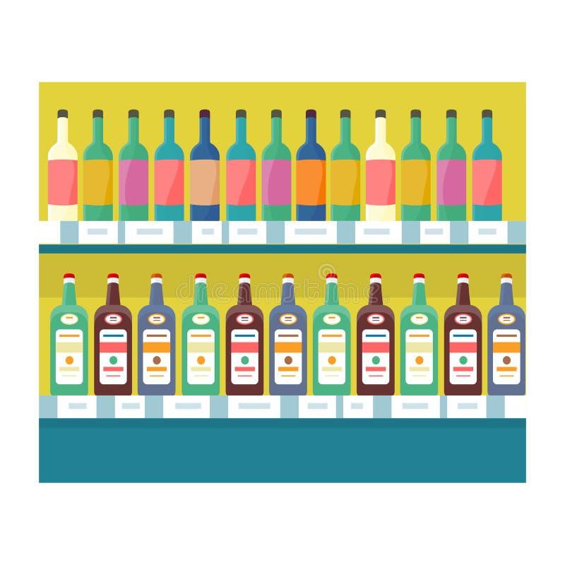 Estantes con las bebidas en vector del colmado ilustración del vector