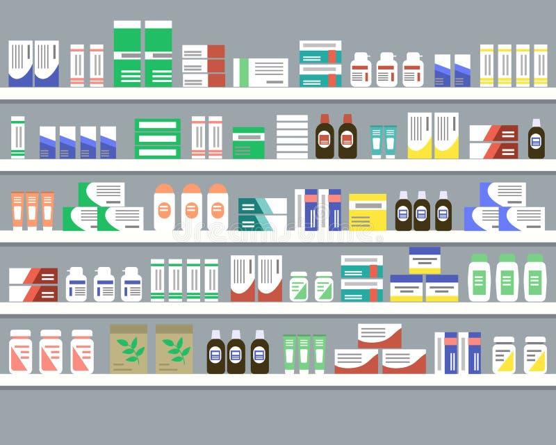 Estantes con las medicinas Objetos para un interior de la farmacia libre illustration