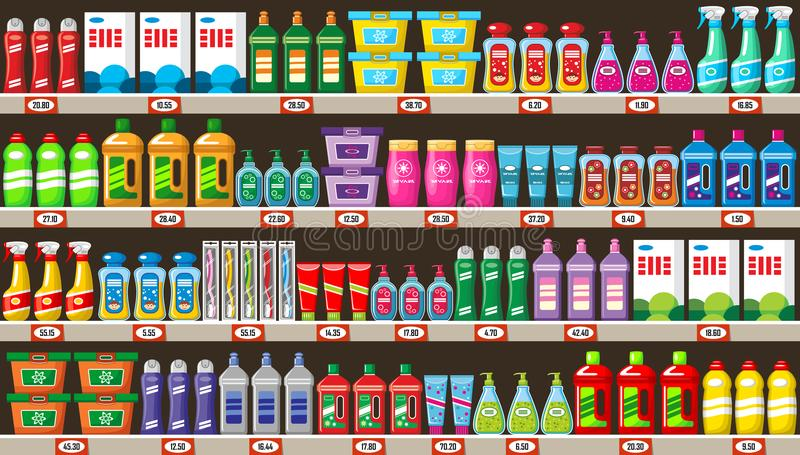 Estantes con las sustancias químicas de hogar en tienda ilustración del vector