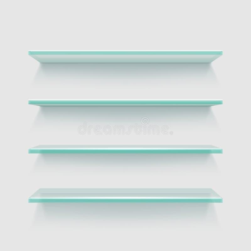 Estantes de cristal claros vacíos de la expo de la tienda, ejemplo del vector de la exhibición del producto del escaparate ilustración del vector