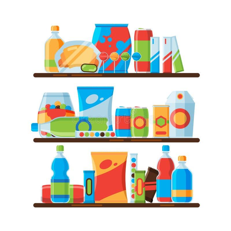 Estantes de la comida Bebidas frías quebradizas de la soda del bocado en la comida basura plástica de las galletas de las botella libre illustration