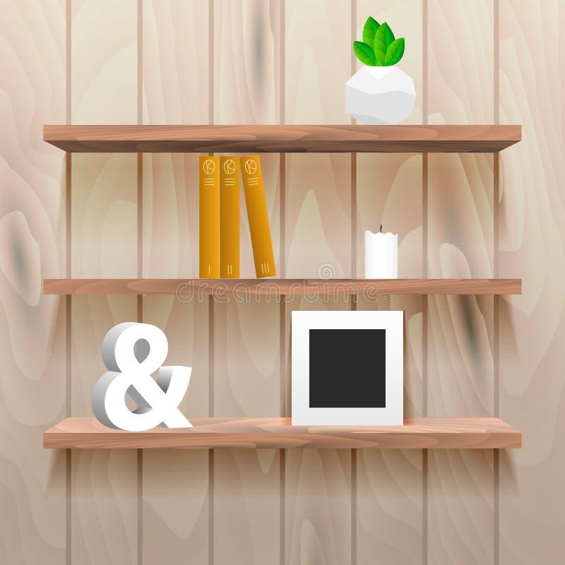 Estantes de librería en interior del sitio con la decoración libre illustration