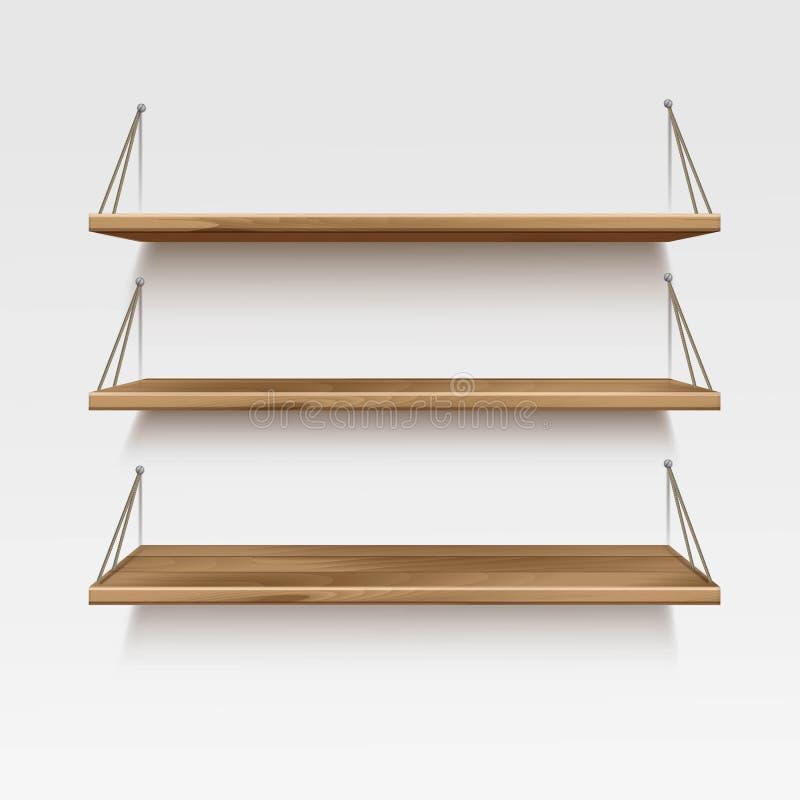 Estantes de madera de madera vac os del estante del vector - Estantes de madera para pared ...