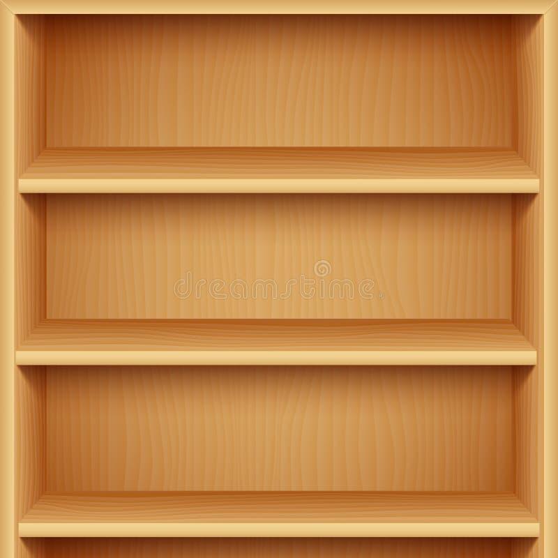 Estantes de madera vacíos ilustración del vector