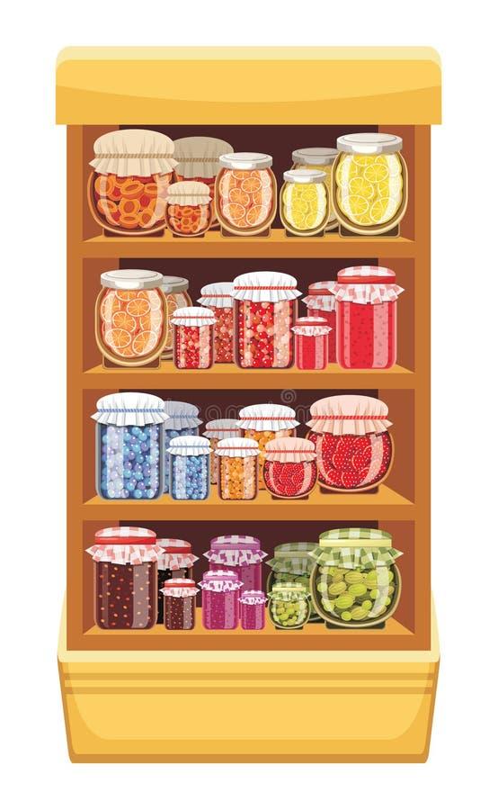 Estantes de una tienda con el atasco stock de ilustración