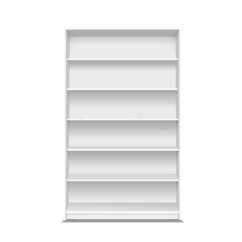 Estantes de una tienda vacíos Exhibición blanca del supermercado del escaparate Mofa al por menor del estante encima del vector stock de ilustración