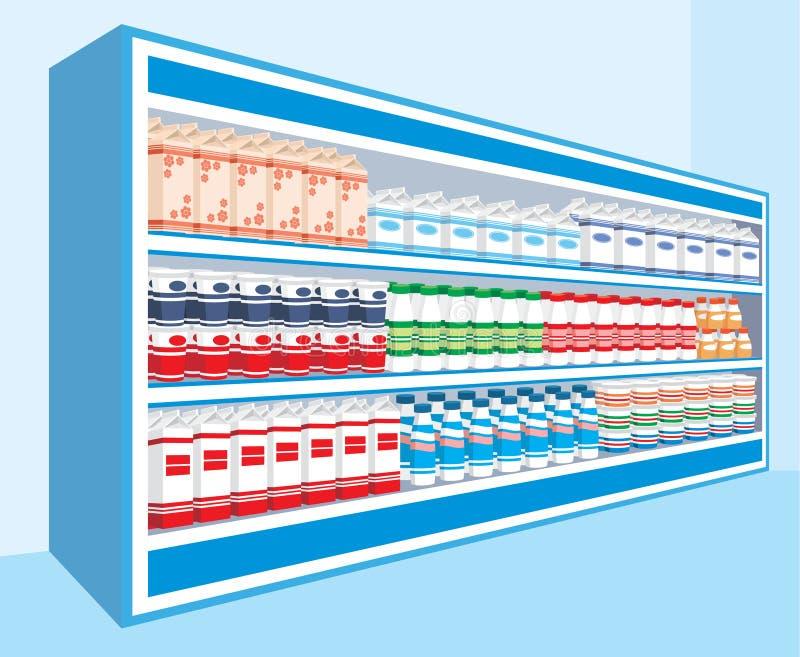 Estantes del supermercado con los productos lácteos stock de ilustración