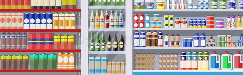 Estantes del supermercado con los ultramarinos ilustración del vector