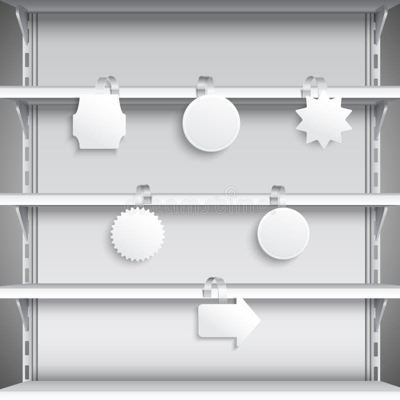 Estantes del supermercado con los wobblers ilustración del vector