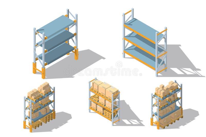 Estantes determinados del almacenamiento con las cajas y las plataformas ilustración del vector