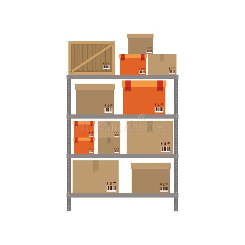 Estantes grises con el paquete sellado ilustración del vector