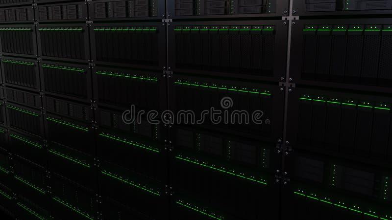 Estantes múltiples del servidor Tecnología de almacenamiento de la nube o conceptos modernos del centro de datos representación 3 libre illustration