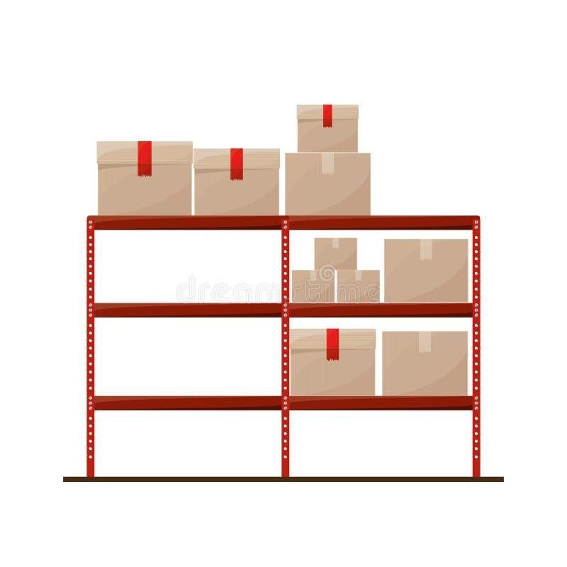 Estantes rojos con el paquete sellado ilustración del vector