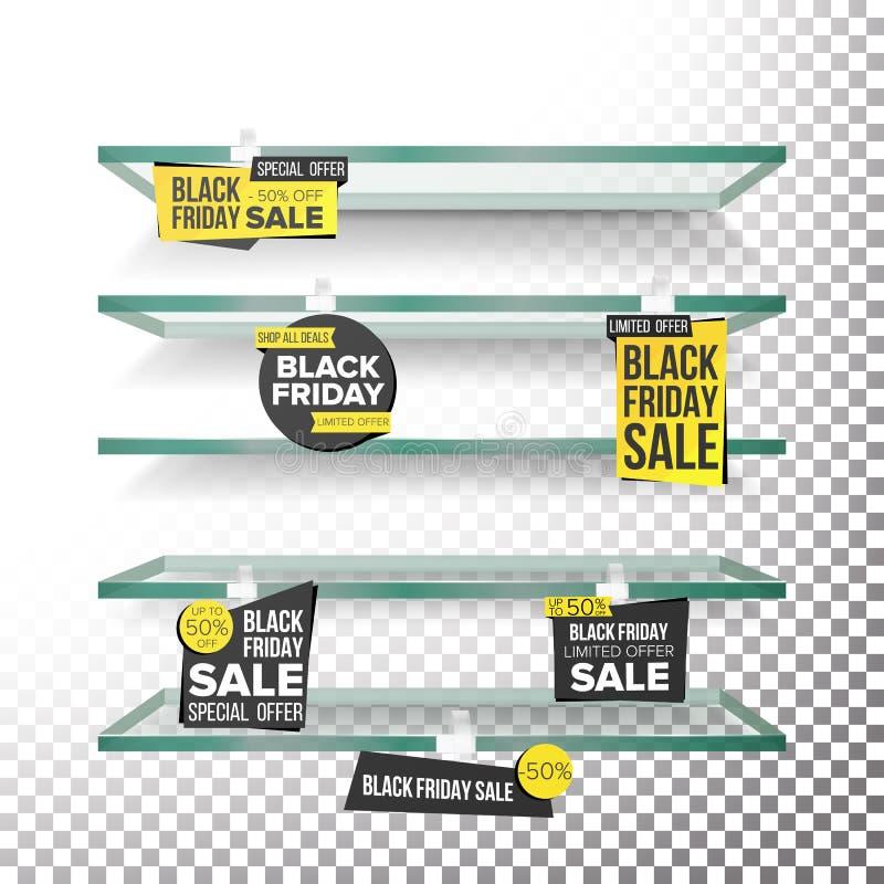Estantes vacíos del supermercado, vector de los Wobblers de la venta de Black Friday Etiquetas del precio Black Friday que vende  stock de ilustración
