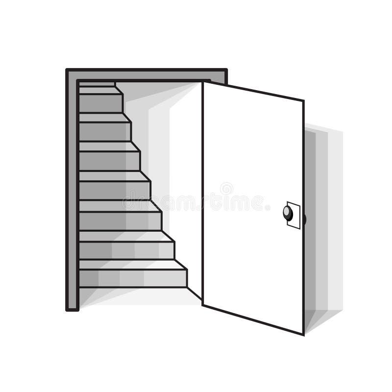 Estar aberto branco com as escadas na ilustração branca, conservada em estoque do vetor ilustração royalty free