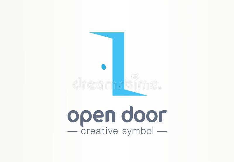 Estar aberto, dentro e para fora conceito criativo do símbolo Entre, retire, logotipo real do negócio do sumário da agência imobi ilustração stock