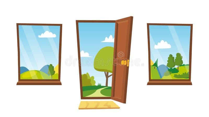 Estar aberto e vetor de Windows Paisagem dos desenhos animados Front View Interior Home Ilustração isolada plano ilustração do vetor