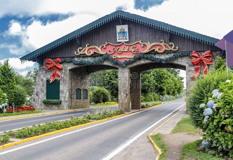 Estasi il portico della città di Gramado in Rio Grande do Sul, Brasile fotografia stock