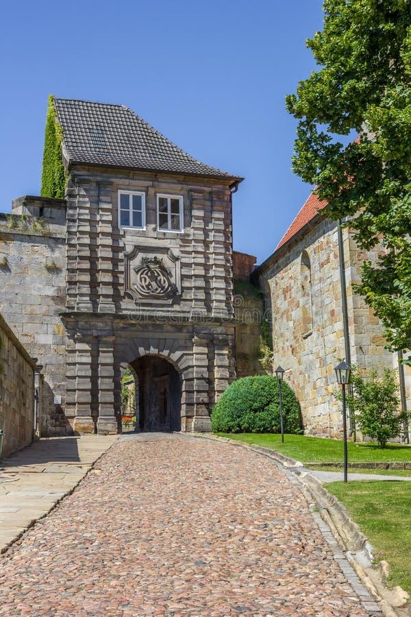 Estasi il portone del castello della sommità in cattivo Bentheim immagini stock libere da diritti
