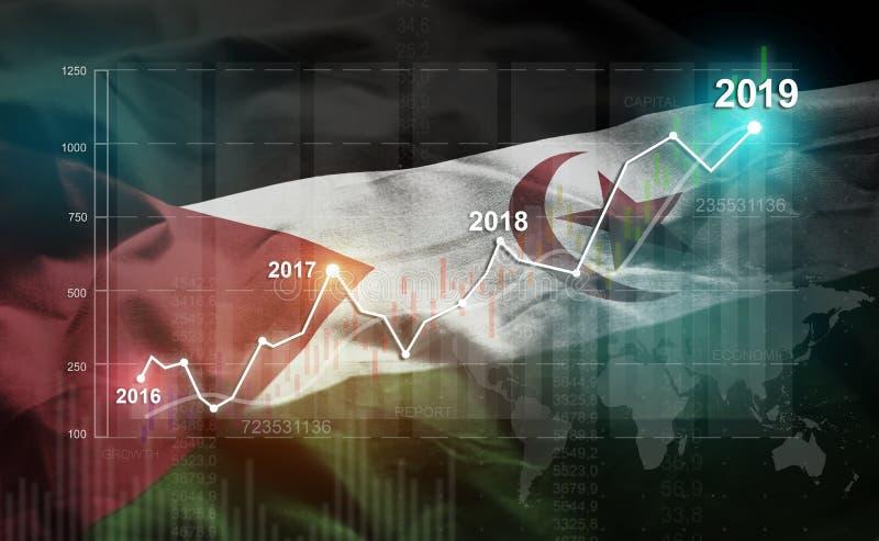 Estatística crescente 2019 financeiro contra a bandeira de Sahrawi ilustração stock