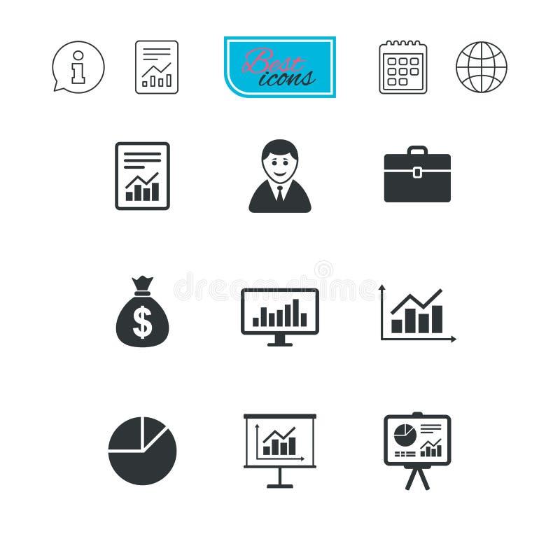 Estatísticas, ícones explicando Sinais das cartas ilustração stock