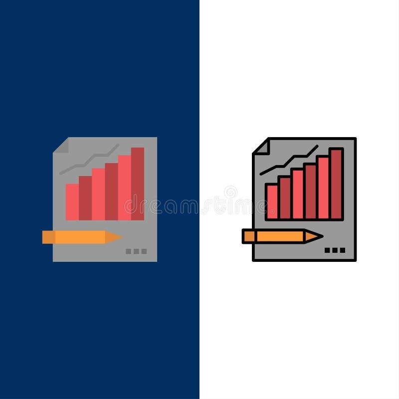 Estatísticas, análise, analítica, negócio, carta, gráfico, ícones do mercado O plano e a linha ícone enchido ajustaram o fundo az ilustração stock