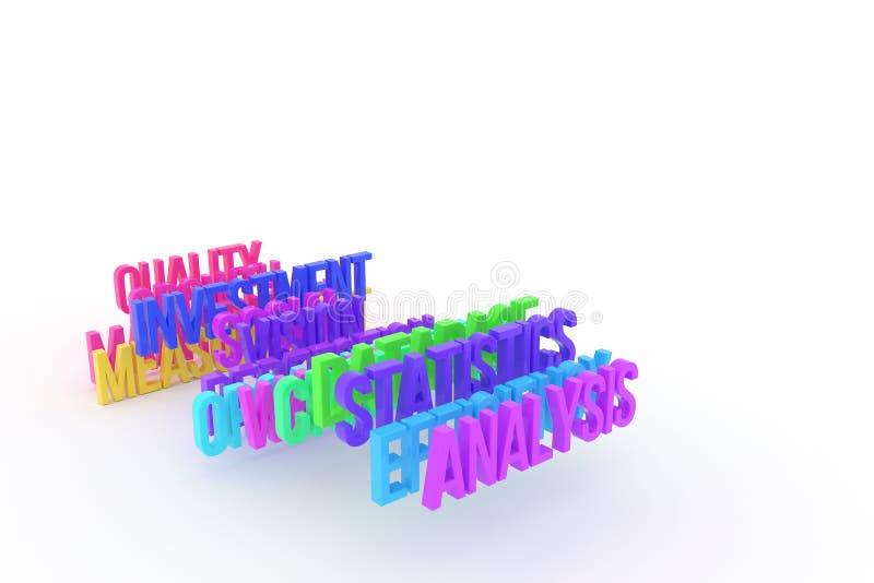 Estatísticas & análise, palavras 3D coloridas conceptuais do negócio Título, digital, projeto & papel de parede ilustração do vetor