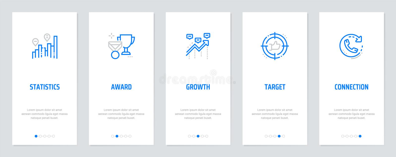 Estatísticas, concessão, crescimento, alvo, cartões verticais da conexão com metáfora fortes ilustração stock