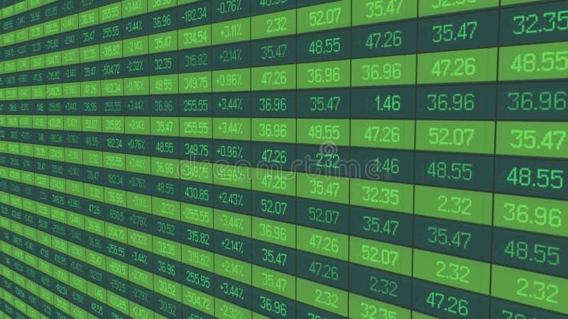 Estatísticas da troca de seguranças, atualização dos índices de cotação na placa do mercado de valores de ação ilustração royalty free
