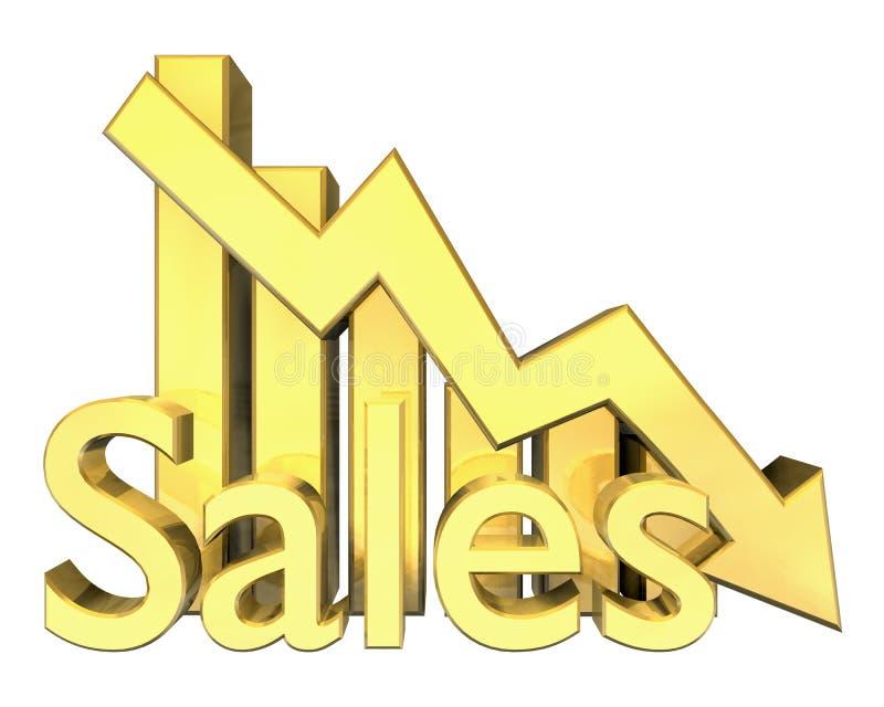 Estatísticas das vendas gráficas no ouro ilustração royalty free
