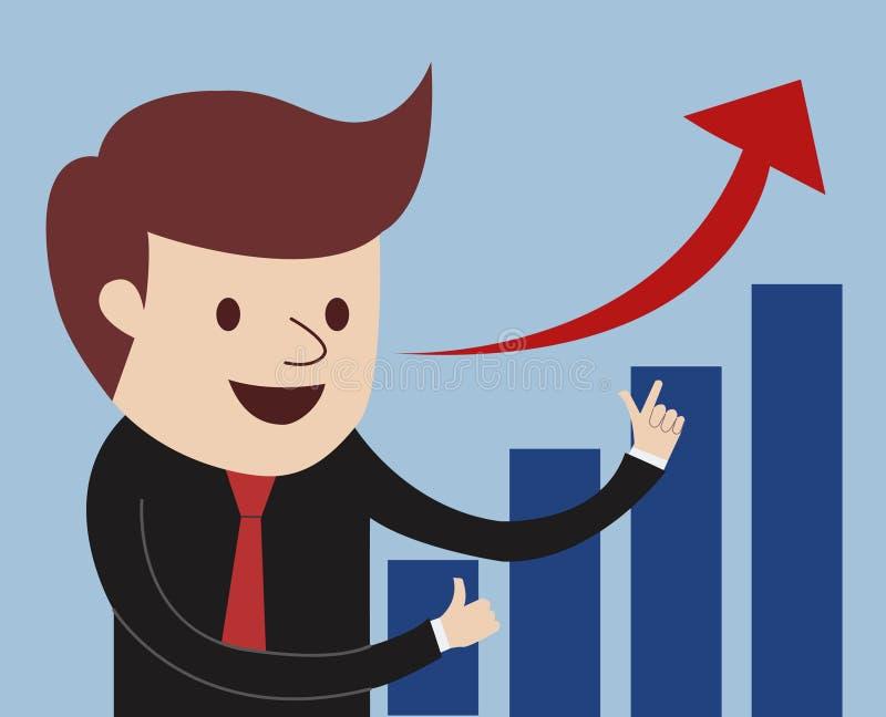 Estatísticas de negócio crescentes orgulhosamente atuais do homem ilustração do vetor