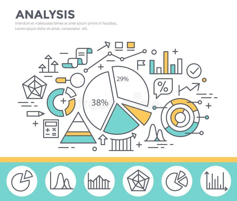 Estatísticas do gráfico de negócio, análise de dados, relatório financeiro, ilustração do conceito do stats do mercado ilustração do vetor