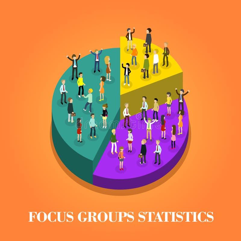 Estatísticas do grupo foco ilustração stock